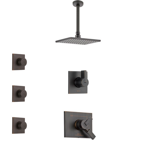Delta Vero Venetian Bronze Finish Shower System with Dual Control Handle, 3-Setting Diverter, Ceiling Mount Showerhead, and 3 Body Sprays SS1753RB4