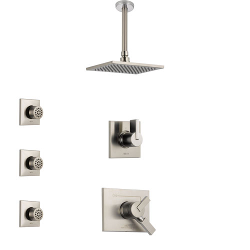 Delta Vero Stainless Steel Finish Shower System with Dual Control Handle, 3-Setting Diverter, Ceiling Mount Showerhead, and 3 Body Sprays SS1753SS5