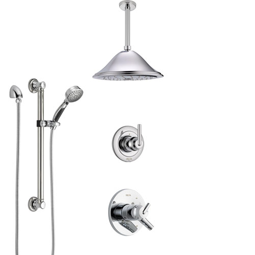 Delta Trinsic Chrome Finish Shower System with Dual Control Handle, Diverter, Ceiling Mount Showerhead, and Hand Shower with Grab Bar SS17591