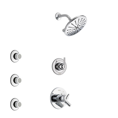 Delta Trinsic Chrome Finish Shower System with Dual Control Handle, 3-Setting Diverter, Showerhead, and 3 Body Sprays SS17597