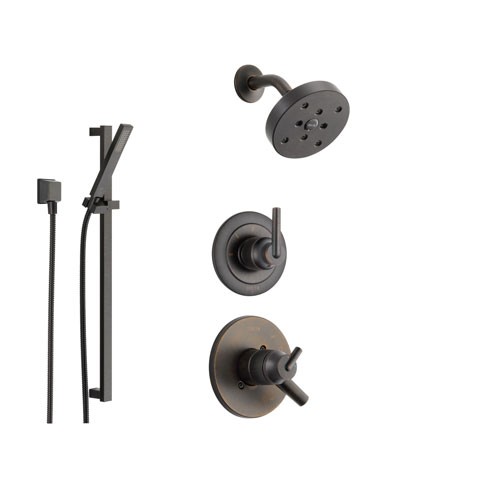 Delta Trinsic Venetian Bronze Shower System with Dual Control Shower Handle, 3-setting Diverter, Modern Round Showerhead, and Handheld Shower SS175981RB