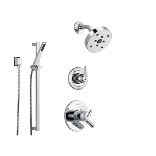Delta Trinsic Chrome Shower System with Dual Control Shower Handle, 3-setting Diverter, Modern Round Showerhead, and Hand Held Shower SS175981