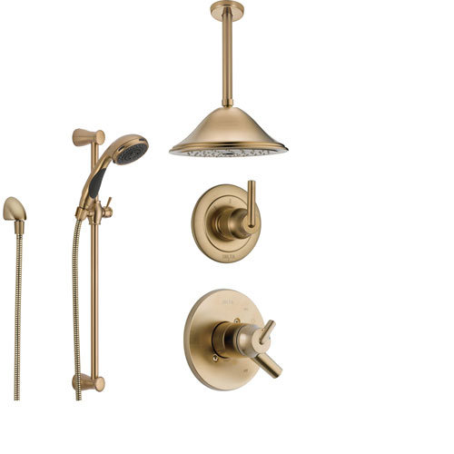 Delta Trinsic Champagne Bronze Shower System with Dual Control Shower Handle, 3-setting Diverter, Large Rain Ceiling Mount Showerhead, and Handheld Spray SS175982CZ