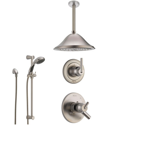 Delta Trinsic Stainless Steel Shower System with Dual Control Shower Handle, 3-setting Diverter, Large Rain Ceiling Mount Showerhead, and Handheld Spray SS175982SS