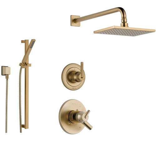 Delta Trinsic Champagne Bronze Shower System with Dual Control Shower Handle, 3-setting Diverter, Large Modern Square Rain Showerhead, and Hand Shower Spray SS175985CZ
