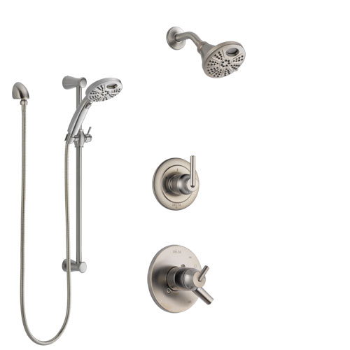 Delta Trinsic Stainless Steel Finish Shower System with Dual Control, 3-Setting Diverter, Temp2O Showerhead, and Hand Shower with Slidebar SS1759SS2
