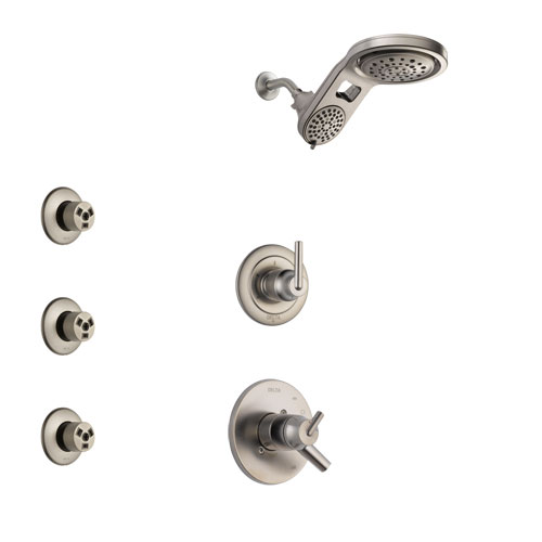 Delta Trinsic Stainless Steel Finish Shower System with Dual Control Handle, 3-Setting Diverter, Dual Showerhead, and 3 Body Sprays SS1759SS8