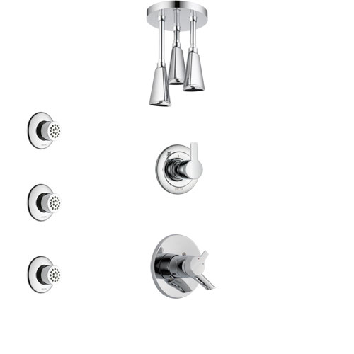 Delta Compel Chrome Finish Shower System with Dual Control Handle, 3-Setting Diverter, Ceiling Mount Showerhead, and 3 Body Sprays SS17615
