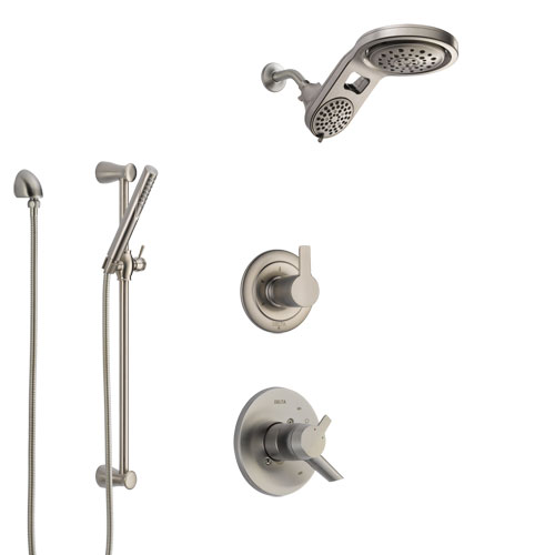 Delta Compel Stainless Steel Finish Shower System with Dual Control Handle, Diverter, Dual Showerhead, and Hand Shower with Slidebar SS1761SS8