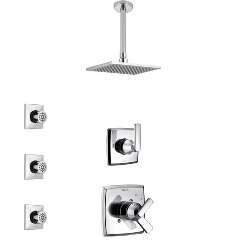 Delta Ashlyn Chrome Finish Shower System with Dual Control Handle, 3-Setting Diverter, Ceiling Mount Showerhead, and 3 Body Sprays SS17643