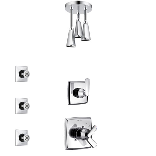Delta Ashlyn Chrome Finish Shower System with Dual Control Handle, 3-Setting Diverter, Ceiling Mount Showerhead, and 3 Body Sprays SS17644