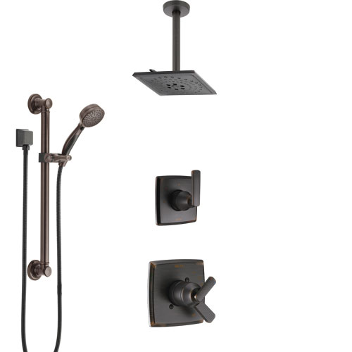 Delta Ashlyn Venetian Bronze Shower System with Dual Control Handle, Diverter, Ceiling Mount Showerhead, and Hand Shower with Grab Bar SS1764RB4