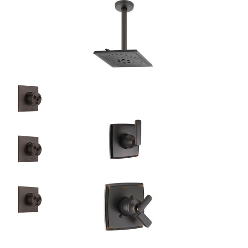 Delta Ashlyn Venetian Bronze Finish Shower System with Dual Control Handle, 3-Setting Diverter, Ceiling Mount Showerhead, and 3 Body Sprays SS1764RB5