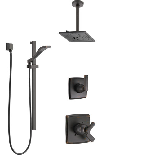 Delta Ashlyn Venetian Bronze Shower System with Dual Control Handle, Diverter, Ceiling Mount Showerhead, and Hand Shower with Slidebar SS1764RB6