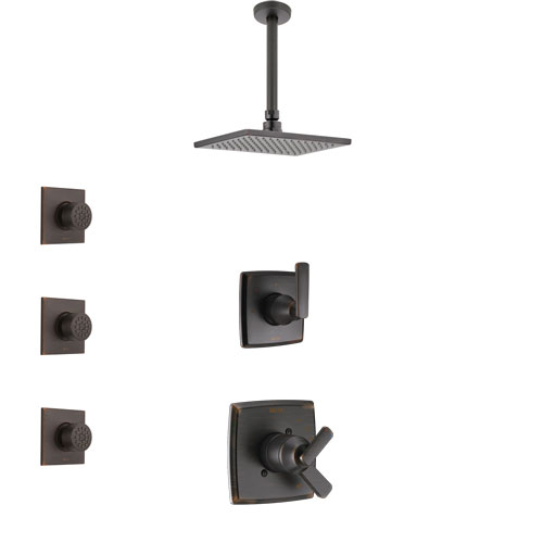 Delta Ashlyn Venetian Bronze Finish Shower System with Dual Control Handle, 3-Setting Diverter, Ceiling Mount Showerhead, and 3 Body Sprays SS1764RB8