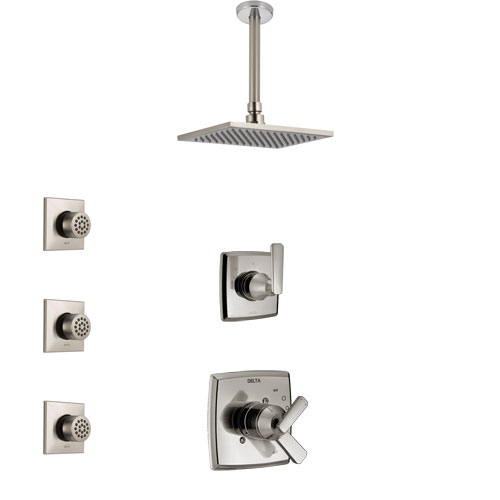 Delta Ashlyn Stainless Steel Finish Shower System with Dual Control Handle, 3-Setting Diverter, Ceiling Mount Showerhead, and 3 Body Sprays SS1764SS3