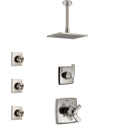 Delta Ashlyn Stainless Steel Finish Shower System with Dual Control Handle, 3-Setting Diverter, Ceiling Mount Showerhead, and 3 Body Sprays SS1764SS4