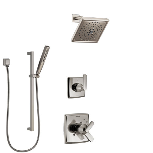 Delta Ashlyn Stainless Steel Finish Shower System with Dual Control Handle, 3-Setting Diverter, Showerhead, and Hand Shower with Slidebar SS1764SS6