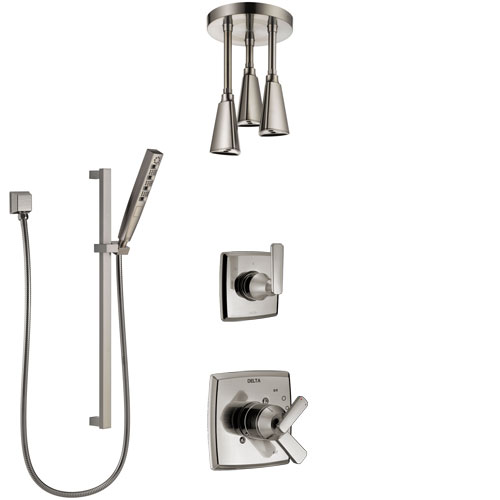 Delta Ashlyn Dual Control Handle Stainless Steel Finish Shower System, Diverter, Ceiling Mount Showerhead, and Hand Shower with Slidebar SS1764SS7