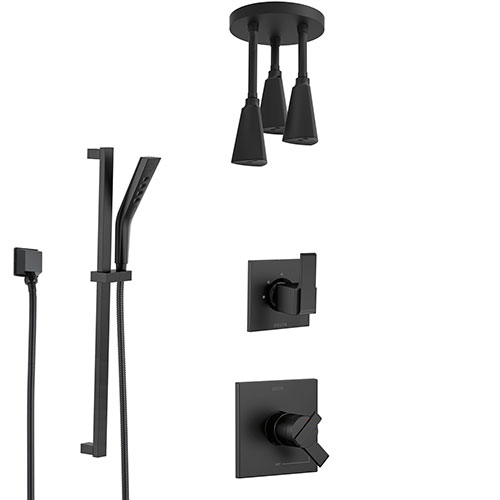 Delta Ara Matte Black Finish Modern Shower System with Triple Pendant Ceiling Mount Showerhead and Hand Shower with Slidebar SS17673BL11