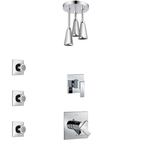 Delta Ara Chrome Finish Shower System with Dual Control Handle, 3-Setting Diverter, Ceiling Mount Showerhead, and 3 Body Sprays SS17673
