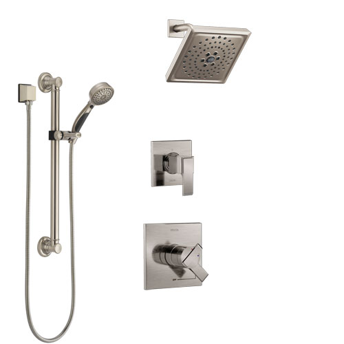 Delta Ara Stainless Steel Finish Shower System with Dual Control Handle, 3-Setting Diverter, Showerhead, and Hand Shower with Grab Bar SS1767SS1