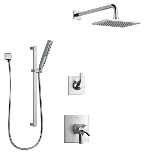 Delta Zura Chrome Finish Shower System with Dual Control Handle, 3-Setting Diverter, Showerhead, and Hand Shower with Slidebar SS17741