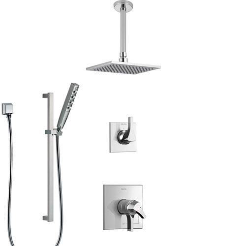 Delta Zura Chrome Finish Shower System with Dual Control Handle, 3-Setting Diverter, Ceiling Mount Showerhead, and Hand Shower with Slidebar SS17748