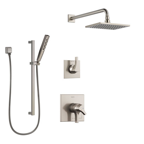 Delta Zura Stainless Steel Finish Shower System with Dual Control Handle, 3-Setting Diverter, Showerhead, and Hand Shower with Slidebar SS1774SS2