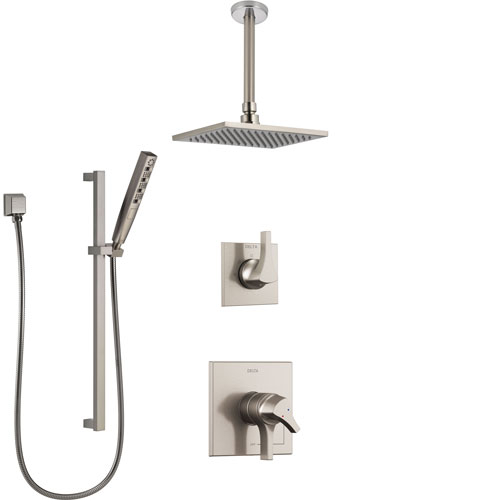Delta Zura Stainless Steel Finish Shower System with Dual Control Handle, Diverter, Ceiling Mount Showerhead, and Hand Shower with Slidebar SS1774SS3