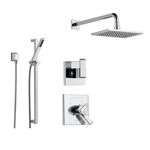 delta arzo chrome shower system with dual control shower handle 3setting diverter large square rain showerhead and handheld shower ss178682