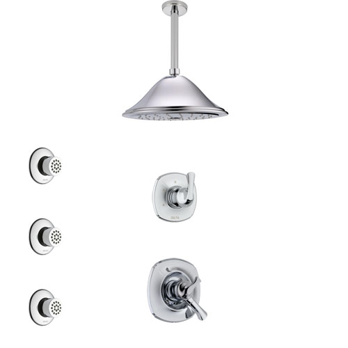 Delta Addison Chrome Finish Shower System with Dual Control Handle, 3-Setting Diverter, Ceiling Mount Showerhead, and 3 Body Sprays SS17923
