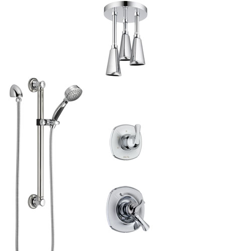 Delta Addison Chrome Finish Shower System with Dual Control Handle, Diverter, Ceiling Mount Showerhead, and Hand Shower with Grab Bar SS17926