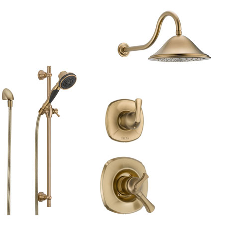 Delta Addison Champagne Bronze Shower System with Dual Control Shower Handle, 3-setting Diverter, Large Rain Showerhead, and Handheld Shower SS179281CZ