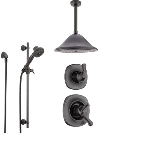 Delta Addison Venetian Bronze Shower System with Dual Control Shower Handle, 3-setting Diverter, Large Ceiling Mount Rain Showerhead, and Handheld Shower SS179282RB