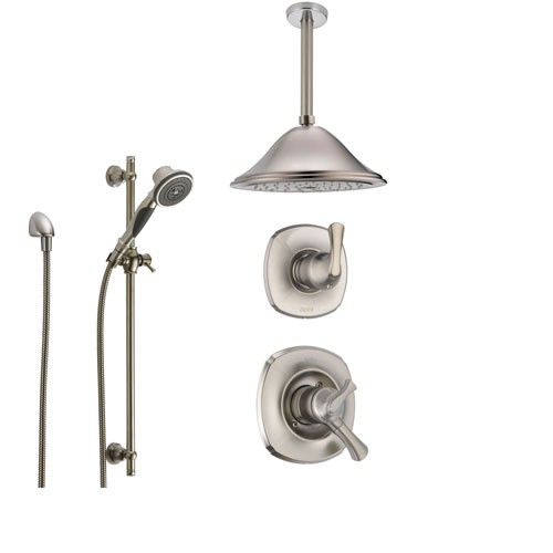 Delta Addison Stainless Steel Shower System with Dual Control Shower Handle, 3-setting Diverter, Large Ceiling Mount Rain Showerhead, and Handheld Shower SS179282SS