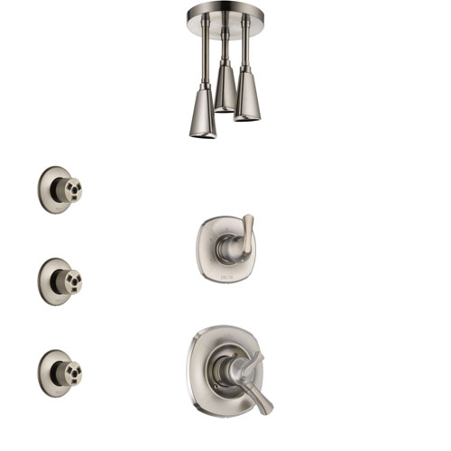 Delta Addison Stainless Steel Finish Shower System with Dual Control Handle, 3-Setting Diverter, Ceiling Mount Showerhead, and 3 Body Sprays SS1792SS7