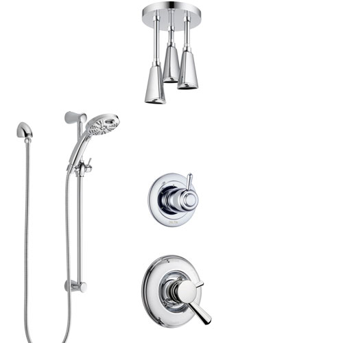 Delta Linden Chrome Finish Shower System with Dual Control, 3-Setting Diverter, Ceiling Mount Showerhead, and Temp2O Hand Shower with Slidebar SS17938