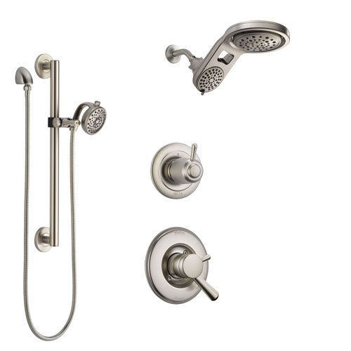 Delta Linden Stainless Steel Finish Shower System with Dual Control Handle, Diverter, Dual Showerhead, and Hand Shower with Grab Bar SS1793SS5