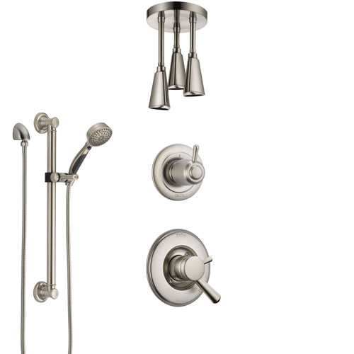 Delta Linden Dual Control Handle Stainless Steel Finish Shower System, Diverter, Ceiling Mount Showerhead, and Hand Shower with Grab Bar SS1793SS6