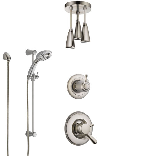 Delta Linden Dual Control Handle Stainless Steel Finish Shower System, Diverter, Ceiling Mount Showerhead, and Temp2O Hand Shower SS1793SS7