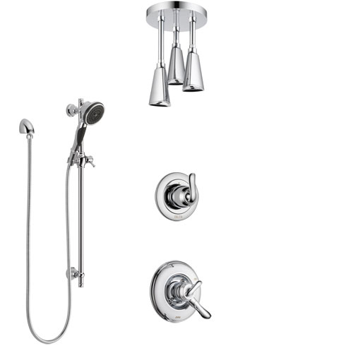 Delta Linden Chrome Finish Shower System with Dual Control Handle, 3-Setting Diverter, Ceiling Mount Showerhead, and Hand Shower with Slidebar SS17942
