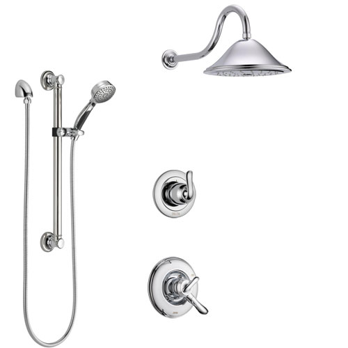 Delta Linden Chrome Finish Shower System with Dual Control Handle, 3-Setting Diverter, Showerhead, and Hand Shower with Grab Bar SS17944