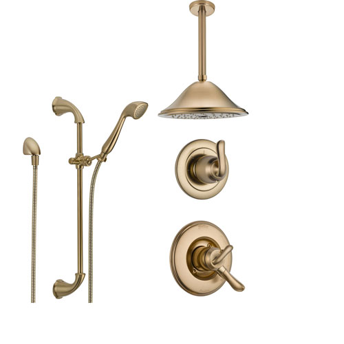 Delta Linden Champagne Bronze Shower System with Dual Control Shower Handle, 3-setting Diverter, Large Rain Ceiling Mount Showerhead, and Handheld Shower Spray SS179482CZ