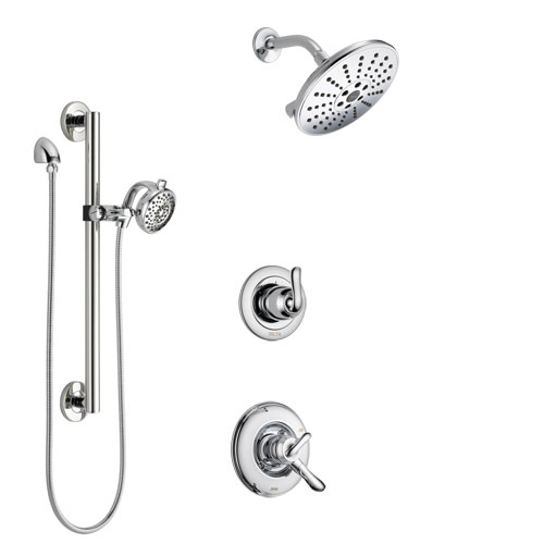 Delta Linden Chrome Finish Shower System with Dual Control Handle, 3-Setting Diverter, Showerhead, and Hand Shower with Grab Bar SS17948
