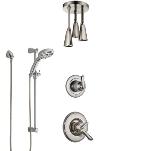 Delta Linden Dual Control Handle Stainless Steel Finish Shower System, Diverter, Ceiling Mount Showerhead, and Temp2O Hand Shower SS1794SS4