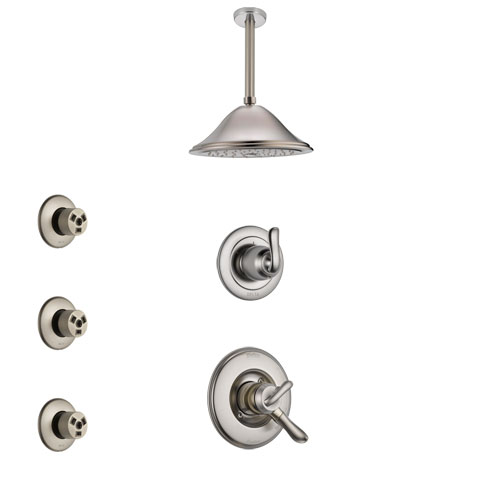 Delta Linden Stainless Steel Finish Shower System with Dual Control Handle, 3-Setting Diverter, Ceiling Mount Showerhead, and 3 Body Sprays SS1794SS7