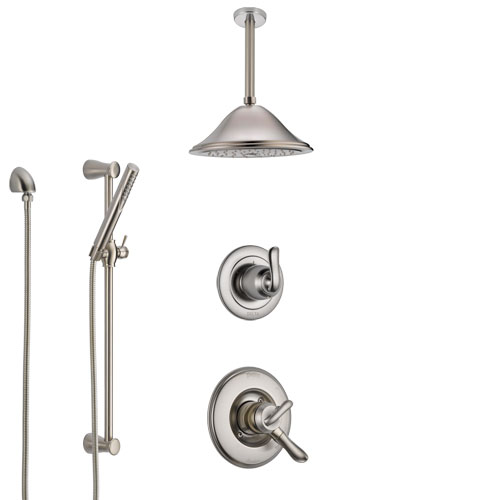 Delta Linden Dual Control Handle Stainless Steel Finish Shower System, Diverter, Ceiling Mount Showerhead, and Hand Shower with Slidebar SS1794SS8