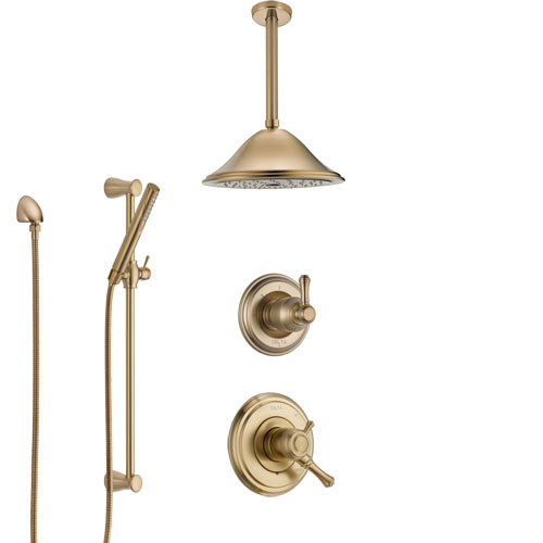 Delta Cassidy Champagne Bronze Shower System with Dual Control Handle, Diverter, Ceiling Mount Showerhead, and Hand Shower with Slidebar SS1797CZ2