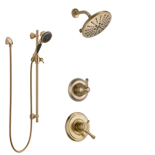 Delta Cassidy Champagne Bronze Finish Shower System with Dual Control Handle, 3-Setting Diverter, Showerhead, and Hand Shower with Slidebar SS1797CZ5
